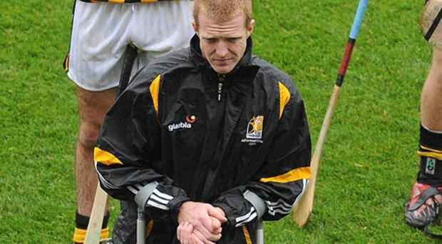 Henry Shefflin using a pair of cruches. Photo: Sportsfile