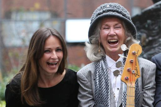 Sharon Corr and Philomena Lynott share a joke at the launch yesterday of the Hot Press Music Show