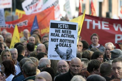 Trade Unions protest against cutbacks and bailouts for banks, outside Leinster House. Photo: PA