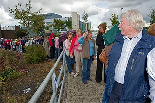 People queued from 6am to attend a public screening day at Cork Dental Hospital yesterday as part of the awareness day organised by Mouth, Head and Neck Cancer Ireland