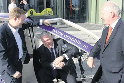 Telco launch: At the official launch of eMobile at 1HSQ were Stephen Beynon, group managing director of consumer and small business Eircom, Paul Donovan, CEO Eircom, and Conor Carmody, director of eMobile
