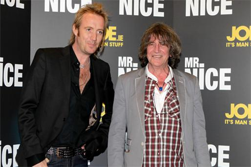 Rhys Ifans and Howard Marks at the 'Mr Nice' premiere in Dublin's Savoy cinema last night