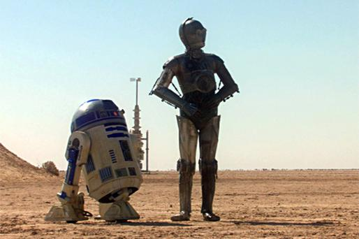 R2-D2 (left) and C-3PO on the desert planet Tatooine in Star Wars Episode II Attack of the Clones Photo: Reuters