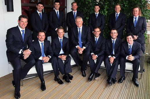 The European team posed for photographers prior to the opening ceremony. Back row, left - right, Padraig Harrington, Ross Fisher, Peter Hanson, Martin Kaymer, Ian Poulter, Miguel Angel Jimenez. Front Row; Lee Westwood, Graeme McDowell, Luke Donald, Team Captain Colin Montgomerie, Edoardo Molinari, Francesco Molinari and Rory McIlroy