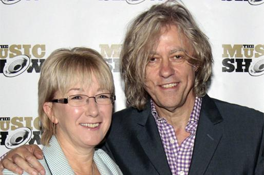 Bob Geldof with Culture Minister Mary Hanafin at the The Music Show in the RDS, Dublin, yesterday