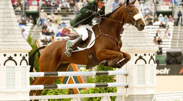 Sam Watson, on Horseware Bushman, competing in show jumping element of the FEI World Eventing Championship at the World Equestrian Games in Kentucky Horse Park, Lexington. Photo: Ray McManus / Sportsfile