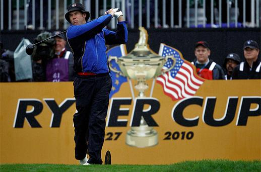 Lee Westwood hits his tee shot on the first hole during four-ball play on the first day of the 2010 Ryder Cup at Celtic Manor in Wales. Photo: Reuters