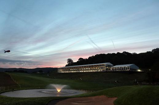 The sun rises over the 18th hole on day two of the 2010 Ryder Cup at the Celtic Manor