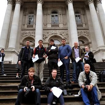 Photographers outside the Tate Britain Art Gallery refused to attend a photocall for this year's Turner Prize exhibition