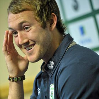 Ireland's Aiden McGeady speaking during a mixed zone in Malahide yesterday ahead of Friday's EURO 2012 qualifier against Russia. Photo: David Maher / Sportsfile