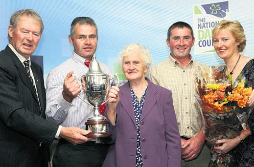 Kevin and John Walsh with their mother Catherine from Kilnafrehan West, Dungarvan, Co Waterford, are the NDC's top dairy farmers for 2010