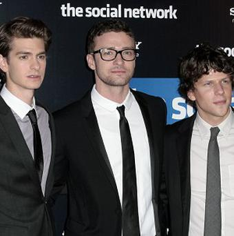 Andrew Garfield, Justin Timberlake and Jesse Eisenberg star in The Social Network