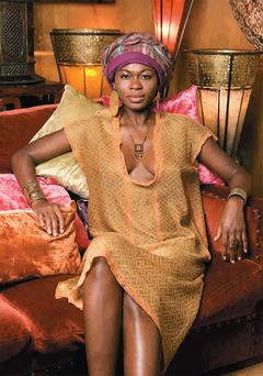 Reversible tunic, €266. Headpiece; jewellery, both designer's own. Photo:Johnny McMillan