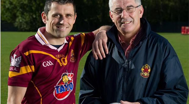 Dublin forward Alan Brogan, wearing his Oliver Plunketts jersey, with father Bernard at yesterday's launch of the AIB All-Ireland club championships at the St Vincent's club in Dublin. Photo: Brendan Moran / Sportsfile