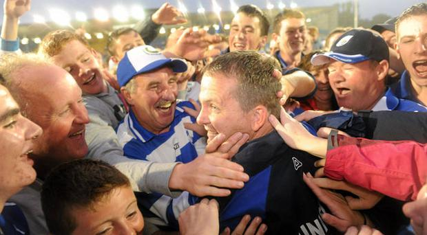 Waterford manager Davy Fitzgerald celebrates with supporters after the Munster SHC final ealier this year. Photo: Brendan Moran / Sportsfile