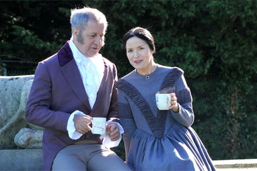 Andrea Corr and Stephen Brennan enjoy a tea break at the Casino Marino in Dublin during a photocall for The Gate's production of 'Jane Eyre'