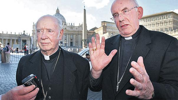 Cardinal Brady, right, and Archbishop Clifford outside the Vatican in Rome yesterday, where the Pope addressed crowds