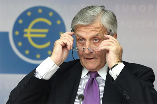 ECB president Jean-Claude Trichet pictured during a news conference in Frankfurt today. Photo: Bloomberg News