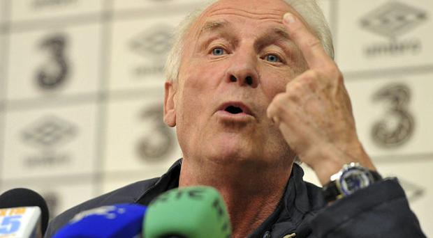 Ireland boss Giovanni Trapattoni speaking at yesterday's press conference ahead of tonight's game against Russia. Photo: Brian Lawless / Sportsfile