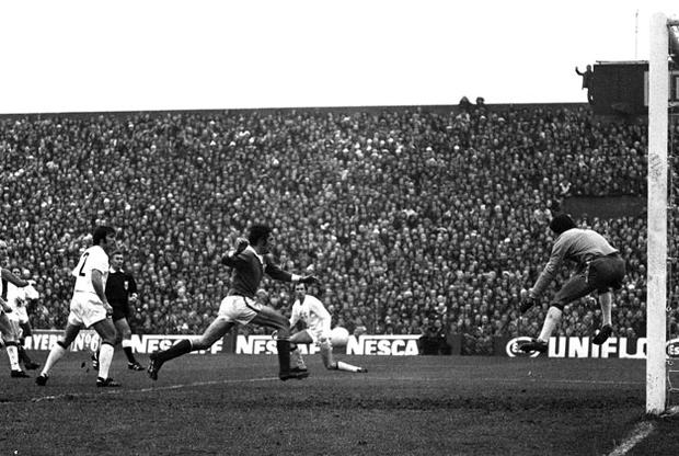 Don Givens scores one of the goals in his hat-trick against the Soviet Union at Dalymount Park. Photo: Connolly Collection / Sportsfile