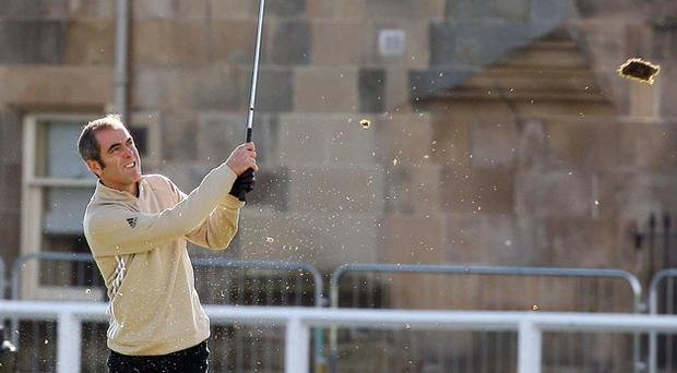 Actor James Nesbitt at the first hole during the Alfred Dunhill Links Championship at St Andrews yesterday. Photo: PA