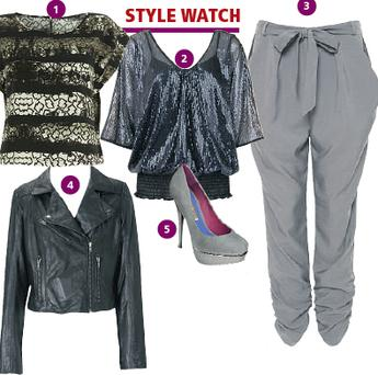 1. T-shirt, €37.27, Topshop; 2. Top, Bon Marche, €29.12; 3. Harem pants, €35, alwear; 4. Shoes, €125, Buffalo; 5. Leather jacket, €175, Oasis,