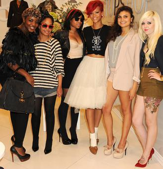 Rihanna styles competition winners at Topshop. Photo: Getty Images