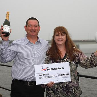 Michael Elliott, the first ever triple millionaire winner of the Football Pools, with his partner Kirstina Fairweather