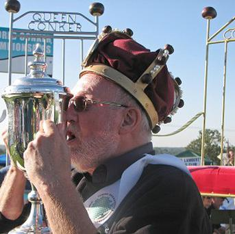 Champion Ray Kellock with his trophy following the 2010 World Conker Championships at Oundle, Northamptonshire
