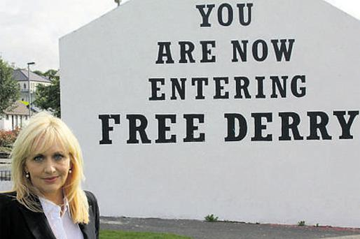 'Prime Time' presenter Miriam O'Callaghan filming a tribute programme on John Hume in Derry
