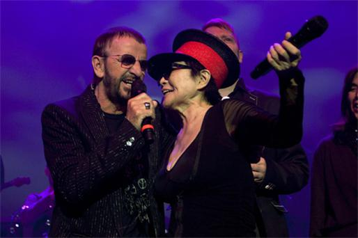 Yoko Ono and Ringo Starr celebrate the 70th birthday of John Lennon