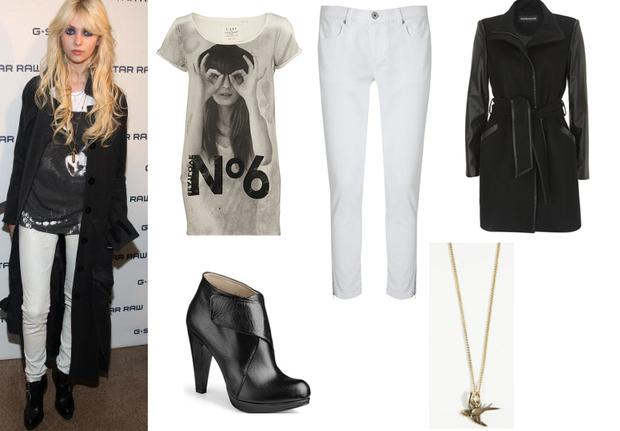 T-shirt River Island €29.99; Jeans Oasis €25;Boots Buffalo €139.90; Necklace Urban Outfitters €16; Black coat Warehouse €117