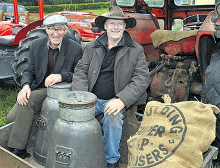Local men Batt Keohane and Gerry Cadogan have a sit down during the annual vintage Threshing at Caherag, west Cork