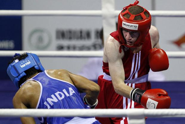 Paddy Barnes beat Amandeep Singh in the 46-49kg category semi-final boxing match. Photo: AP