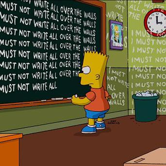 Bart Simpson is shown during the show's opening sequence, created by Banksy (AP)