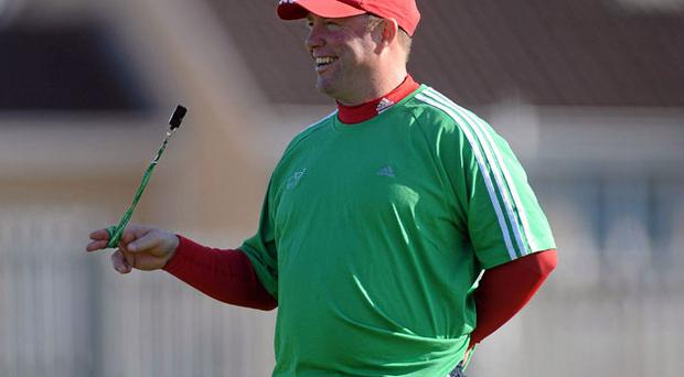 Tony McGahan sees the funny side during Munster's training session at Thomond Park yesterday. Photo: Diarmuid Greene / Sportsfile