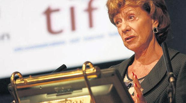 Neelie Kroes, European Commissioner for the Digital Agenda, addressing IBEC's Telecommunications and Internet Federation (TIF) annual conference entitled 'The next economy: Transforming Ireland's future' in Dublin Castle yesterday