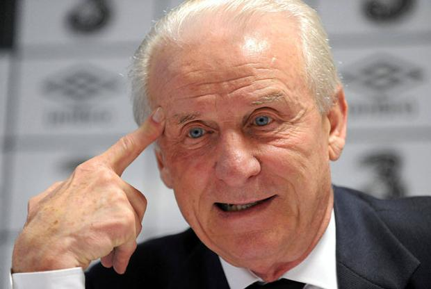Ireland manager Giovanni Trapattoni speaking at yesterday's press conference. Photo: Barry Cregg / Sportsfile