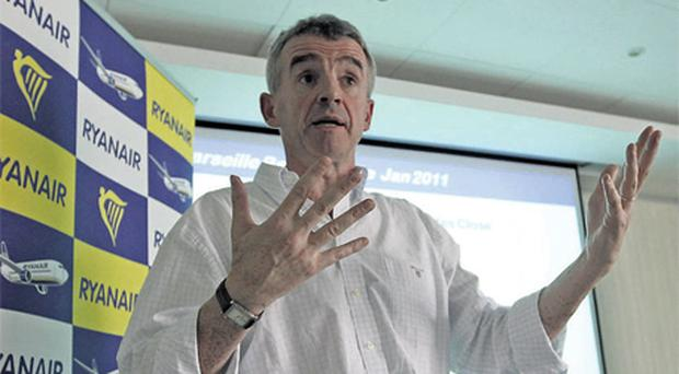 Ryanair chief executive Michael O'Leary addressing a news conference in Marseille-Provence airport yesterday