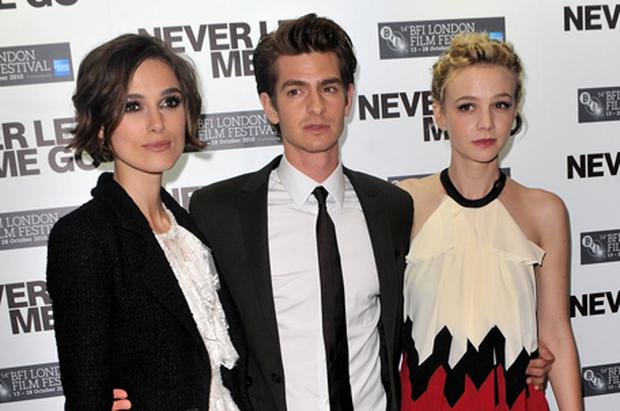 Keira Knightley, Andrew Garfield and Carey Mulligan. Photo: Getty Images