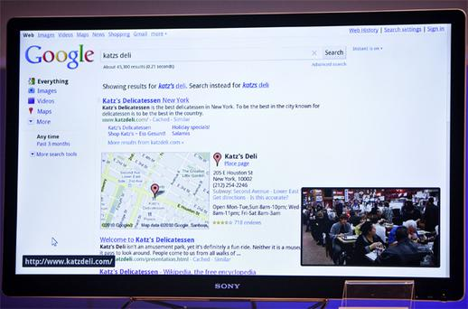 Web surfing on the TV is powered by Google Chrome. Photo: Bloomberg News