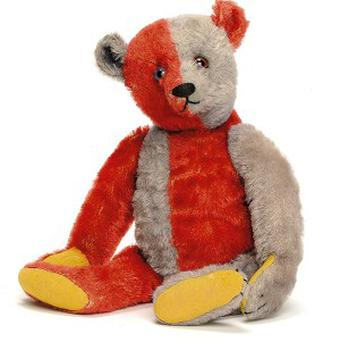A red and blue Steiff Harlequin teddy bear sold at Christie's South Kensington for 46,850 pounds