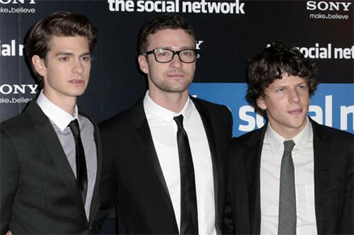 WHIZ KIDS: From left, The Social Network stars Andrew Garfield, Justin Timberlake and Jesse Eisenberg; above right, stills from the movie