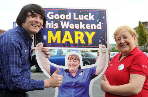 Tesco Ballyfermot staff members Patrick Hughes and Caroline O'Callaghan wish Mary Byrne the best of luck in the 'X Factor' this weekend.