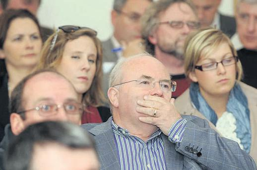 Delagates listening intently at a session of the 33rd Dublin Economic Workshop in Kenmare yesterday.