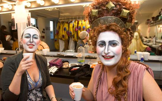 Alexandra Cassidy and Natalie Sinnott enjoying a cuppa before their preformance in the opening night's opera