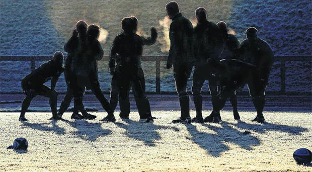 Members of the Irish squad go through some warm-up exercises on a frosty morning ahead of last season's Six Nations. Photo: Brendan Moran / Sportsfile
