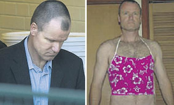 Russell Williams, a colonel in the Canadian air force, is led away from court earlier this week. Right: Williams would break into the homes of his female victims and pose in their underwear