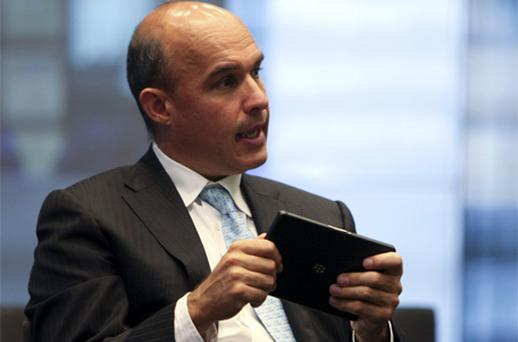 Jim Balsillie, chief executive at RIM, has accused Apple of only telling half the story, and criticised the company's 'reality distortion field.' Photo: Bloomberg News
