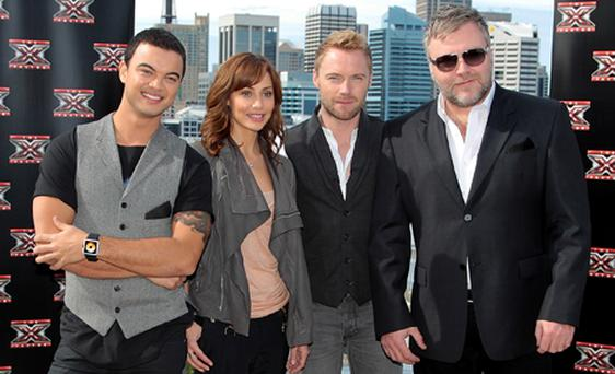 Ronan Keating pictured with fellow X Factor Australia judges, left - right, Guy Sebastian, Natalie Imbruglia and Kyle Sandilands. Photo: Getty Images